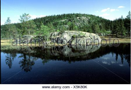 near Amot rock cliff body of water scenery Norway Europe reflection telemark
