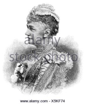 Christian IX, 8.4.1818 - 29.1.1906, King of Denmark 15.11.1863 - 29.1.1906, portrait of his woman, Louise of Hesse-Kassel (1817 - 1898), wood engraving, second half of the 19th century,