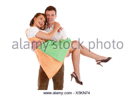 bavarian love in love fell in love indolently couple pair carry wear together - Stock Photo