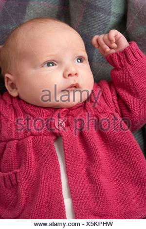 Portrait Of Newborn Baby Girl - Stock Photo