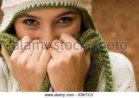 close up hands and face - Stock Photo