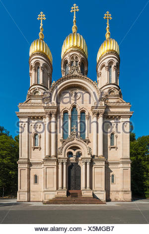 Wiesbaden, Hessen, Germany :  Russisch-Orthodoxe Kirche auf dem Neroberg  Deutschland - Stock Photo