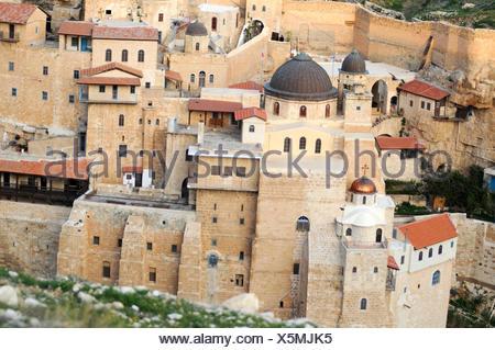 Israel, Judaea Dessert, Wadi Kidron, The Great Lavra of St. Sabas (also Mar Saba) is a Greek Orthodox monastery overlooking the - Stock Photo