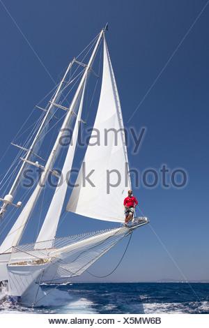 Adela in the Superyacht Cup In Palma de Mallorca, Spain - Stock Photo
