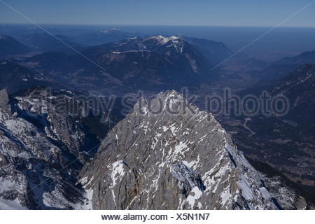 Blick von der Zugspitze ins Alpenvorland und Garmisch Partenkirchen - Stock Photo