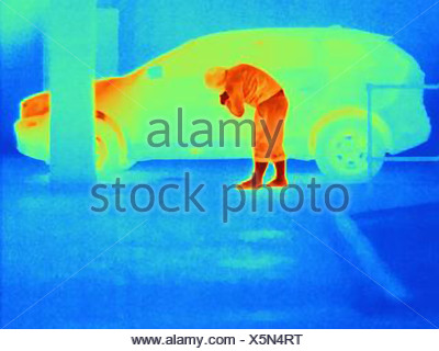 Thermal photograph of a burglar breaking into a car - Stock Photo
