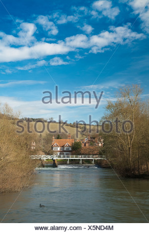 River Thames and Streatley weir from the towpath at Goring Oxfordshire Uk - Stock Photo