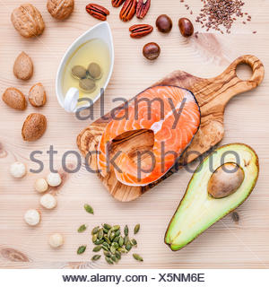 Selection food sources of omega 3 and unsaturated fats. Super fo - Stock Photo