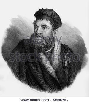 Polo, Marco, 1254 - 8.1.1324, Venetian merchant and traveller, portrait, wood engraving, 19th century, Additional-Rights-Clearances-NA - Stock Photo