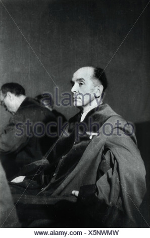 Freisler, Roland, 30.10.1893 - 3.2.1945, German jurist, President of the Volksgerichtshof (People's Court) 1942 - 1945, half length, during a trial against members of the resistance, 1944, - Stock Photo