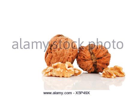 Persian Walnuts (Juglans regia) with walnut cores - Stock Photo