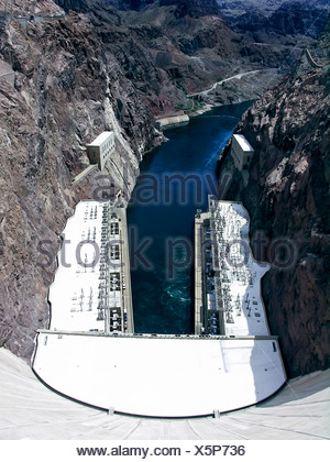 View of the Colorado River as seen from the top of the Hoover Dam, Nevada - Stock Photo