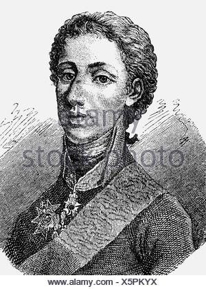 Gustav IV Adolf, 1.11.1778 - 7.2.1837, King of Sweden 29.3.1792 - 29.3.1809, portrait, wood engraving, 19th century, , Additional-Rights-Clearances-NA - Stock Photo