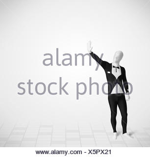 Funny guy in morphsuit body suit looking at copy space - Stock Photo