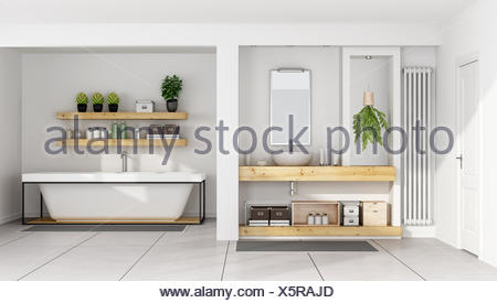 Contemporary white bathroom - Stock Photo