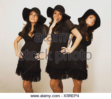 Digital Composition Of A Woman Wearing A Hat And Dress In Different Poses - Stock Photo