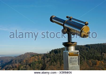 Telescope, view from Castle Hohenlimburg, North Rhine-Westphalia, Germany - Stock Photo