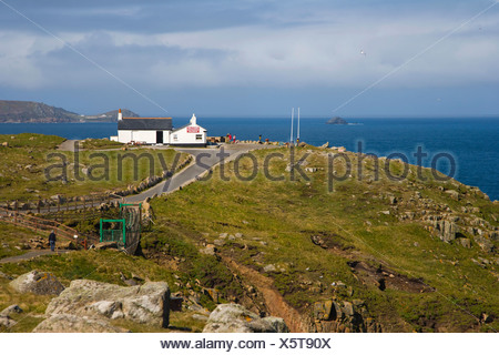 First and last refreshment house in England, Land's End, Penn an Wlas, Cornwall, United Kingdom, Europe - Stock Photo