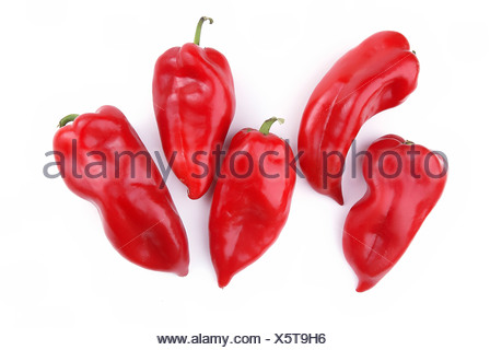 Fifth Peppers in group on white background - Stock Photo