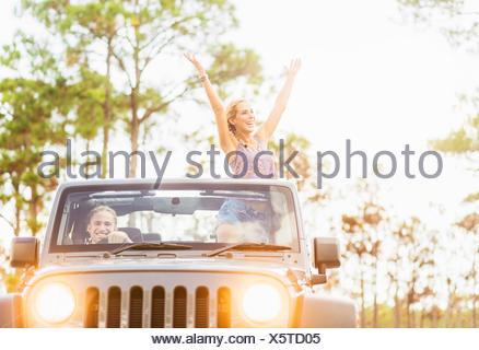 USA, Florida, Tequesta, Couple in car - Stock Photo