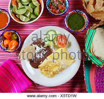 breakfast in mexico omelette eggs with chili sauce - Stock Photo