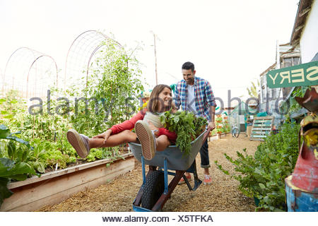 Playful father pushing daughter in wheelbarrow at plant nursery garden - Stock Photo