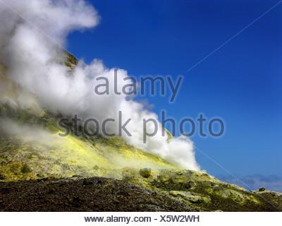 fumarole on White Island, New Zealand, White Island, Abel Tasman National Park - Stock Photo