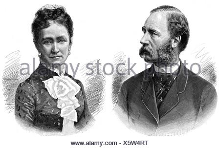 Christian IX, 8.4.1818 - 29.1.1906, King of Denmark 1863 - 1906, portrait, with Queen Louise of Hesse-Kassel (1817 - 1898), wood engraving, 1892,
