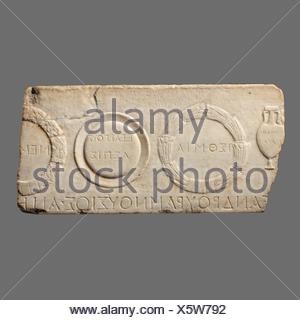 Marble relief fragment depicting athletic prizes. Period: Mid-Imperial, Antonine; Date: 2nd century A.D; Culture: Roman; Medium: Marble; Dimensions: - Stock Photo