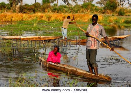 Local Bayei people in the tradiional mokoro dugout boat, Okavango Delta, Okavango Swamp, Botswana - Stock Photo