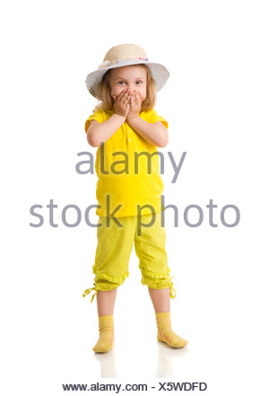 Excited Little Girl shouting cowering mouth isolated on white - Stock Photo