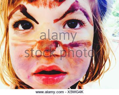 Girl Imitating Like A Cat - Stock Photo
