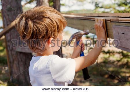Sweden, Uppland, Runmaro, Barrskar, Boy (4-5) pounding hammer
