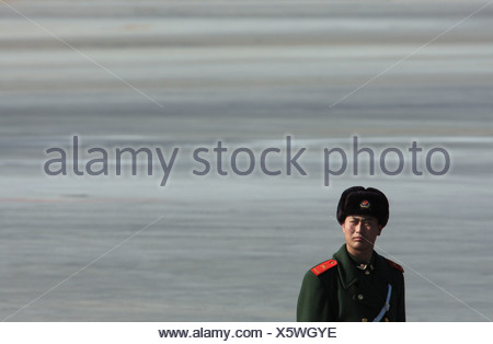 Chinese PLA soldier in Beijing China. - Stock Photo