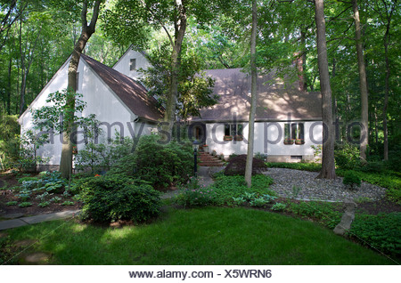 Contemporary suburban house on wooded lot - Stock Photo