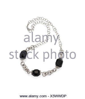 Beautiful Onyx Bead Crystal Necklace with Silver Chain Isolated on white. - Stock Photo