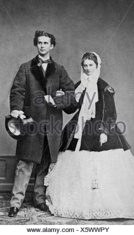 Louis II, 25.8.1845 - 13.6.1886, King of Bavaria 10.3.1864 - 13.6.1886, with fiancee Duchess Sophie in Bavaria, Photograph by Joseph Albert, Munich 1867, Wittelsbach, couple, Germany, 19th century, Ludwig, , Additional-Rights-Clearances-NA - Stock Photo