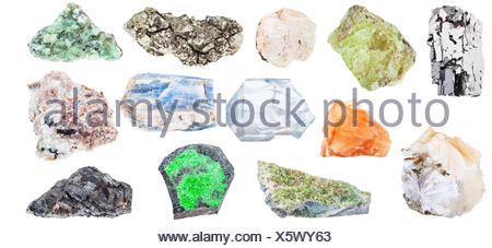 collection of various natural mineral crystals - Stock Photo