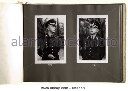 Obergruppenführer Friedrich Karl Baron von Eberstein - three photo albums, from his personal possession. Album 1 is entitled, '1: 1923 - 1932' with ca. 94 pictures of events during 'the struggle', mostly labeled in his own hand: Halle and Weimar 1924, National Party Day 1929, Thuringia Gau Day in Gotha 1929, Gau Leader Meeting Weimar 1930, Brunswick 1931, Munich and Berchtesgaden 1932. One picture is missing, one page removed. Very interesting photographs of SA/SS men in uniform during the struggle period. Album '2: 1933 - 1935' has ca. 75 photos: 1933 National, Additional-Rights-Clearances-NA - Stock Photo