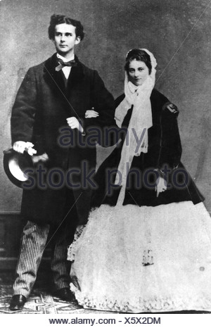 Louis II, 25.8.1845 - 13.6.1886, King of Bavaria 10.3.1864 - 13.6.1886, with fiancee Princess Sophie in Bavaria, photograph by Joseph Albert, Munich, 1867, , Additional-Rights-Clearances-NA - Stock Photo
