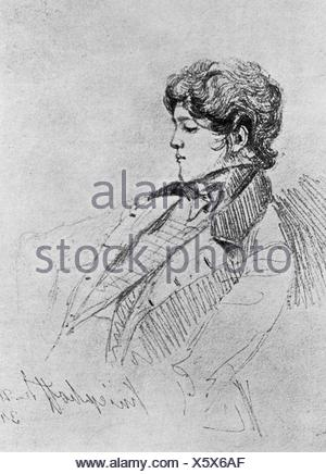 Bismarck, Otto von, 1.4.1815 - 30.7.1898, German politician, youth, during his years of study at the University of Berlin, drawing by Gustav von Kessel, 1834, Artist's Copyright has not to be cleared - Stock Photo