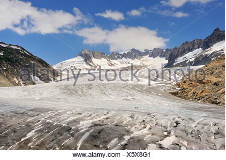 Overlooking the Rhonegletscher glacier in 2009, Canton Valais, Switzerland, Europe - Stock Photo