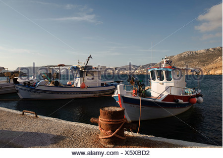 Fishing boats in the port of Finiki, island of Karpathos, Aegean Islands, Dodecanese, Aegean Sea, Greece, Europe - Stock Photo