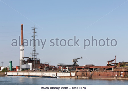 Duisburg copper smelter, now DK Recycling on the bank of the Rhine River, Duisburg-Ruhrort, Ruhr area, North Rhine-Westphalia,  - Stock Photo