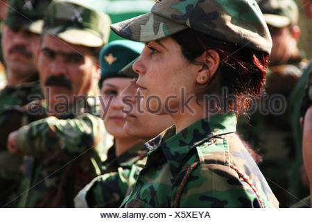 Peshmerga fighter in barracks, Iraq, Iraqi Kurdistan, As-Sulaimaniyya, Sulaimaniyya, Sulaymaniyah - Stock Photo