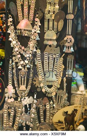 Chile, Temuco, Mercado Municipal, jewellery displayed on market stall - Stock Photo