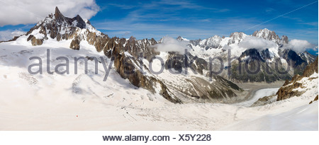 Mer de Glace and Dent du Geant, Dente del Gigante, Giant's tooth, Mont Blanc Massif, Alps, Europe - Stock Photo