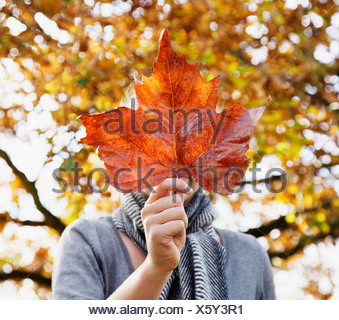 Girl holding autumn leaf in front of face - Stock Photo