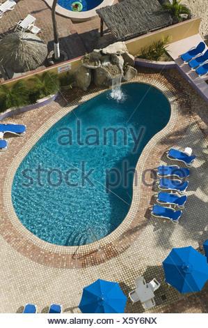 Mexiko, Sinaloa, Mazatlan, Zona Dorada, Playa Las Gaviotas, Hotel Las Flores, Hotelpool, - Stock Photo