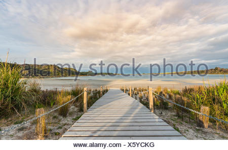 Boardwalk to beach, Lake Taharoa, Northland, North Island, New Zealand - Stock Photo